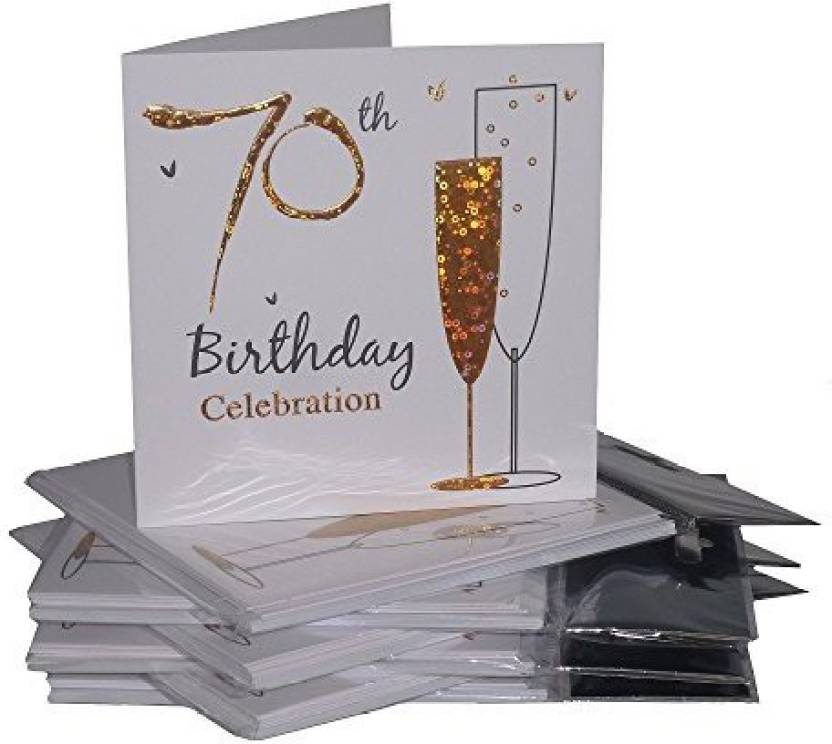 Simon Elvin Multipack Gold Champagne Glass 70Th Birthday Party Invitation Cards