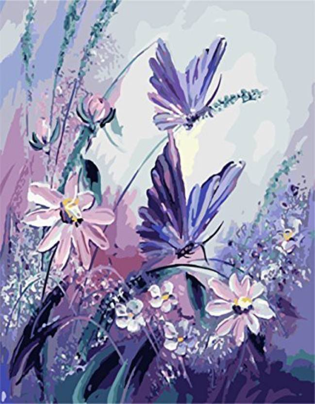 Rihe Paint By Numbers Diy Oil Painting Purple Erflies With Flowers Canvas Print Wall Art Home Decoration Without Frame