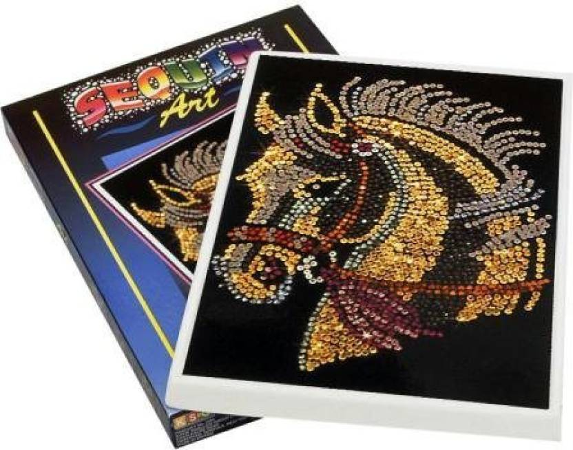 Sequin Art Blue Horse Sparkling Arts And Crafts Picture Kit