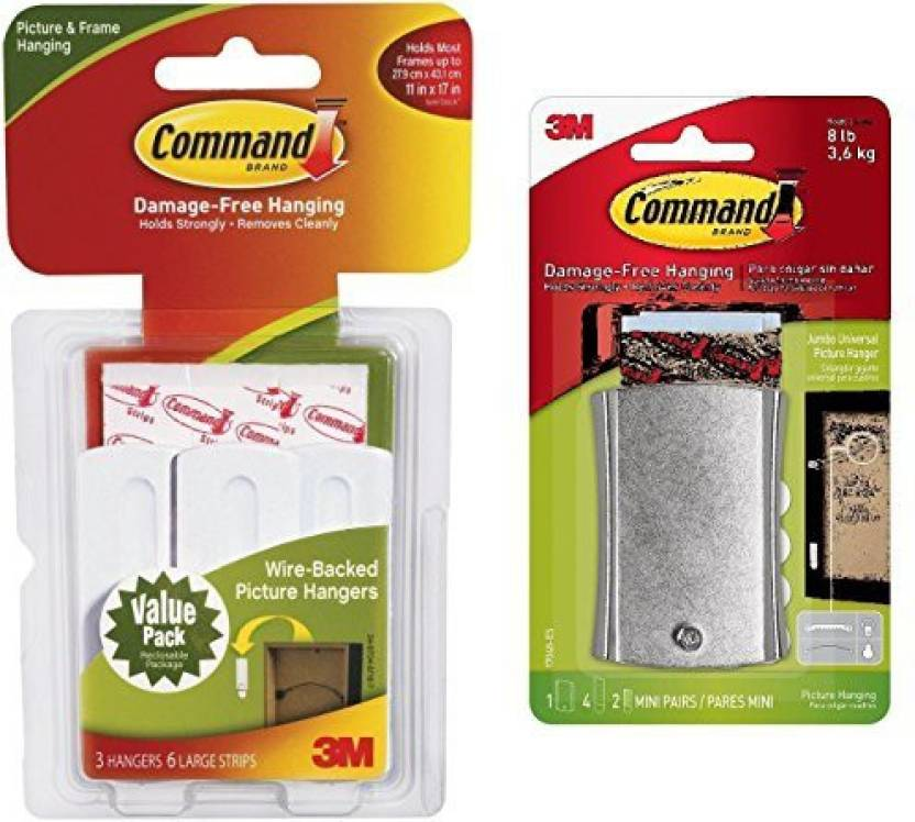 Command 3 X Wire Backed Picture Hangers With Strips Value Pack