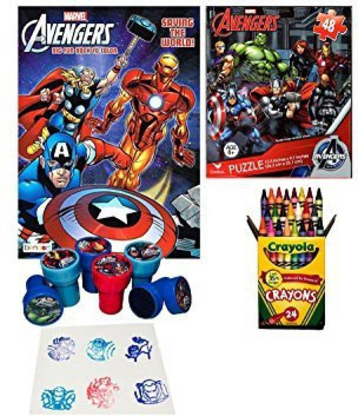 Avengers Coloring Book, Puzzle And Stamper Activity Set - Include 1 ...