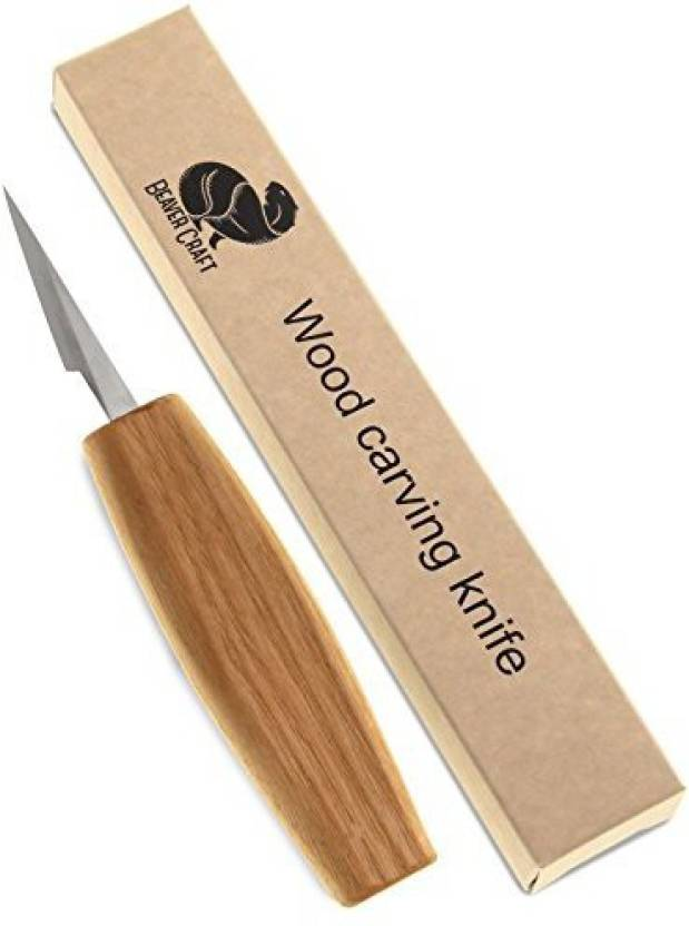 Beavercraft wood chip carving detail knife for fine wood cutting and