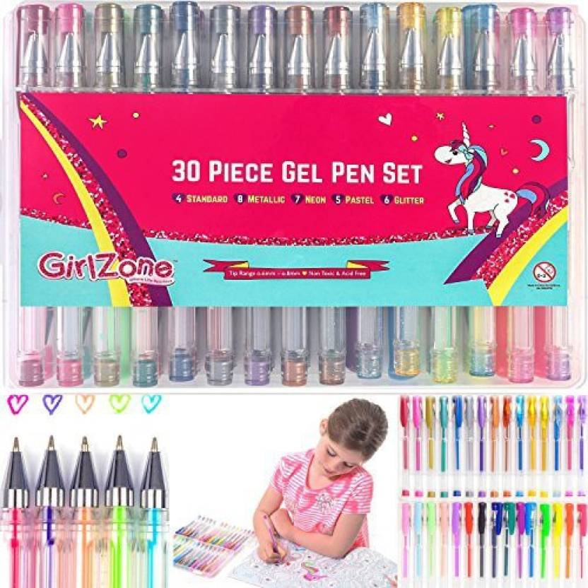 GirlZone Gifts For Girls 30 Piece Gel Pens Set Ideal Birthday Present Gift Arts Crafts Age 3 4 5 6 7 8 9 10 Years Old Coloring Kids
