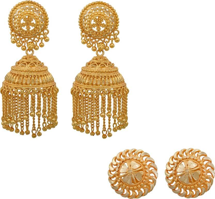 020df36d8 DzineTrendz Dzine Trendz Gold plated Combo of Jhalar Jhumki and Stud  earrings Women Traditional