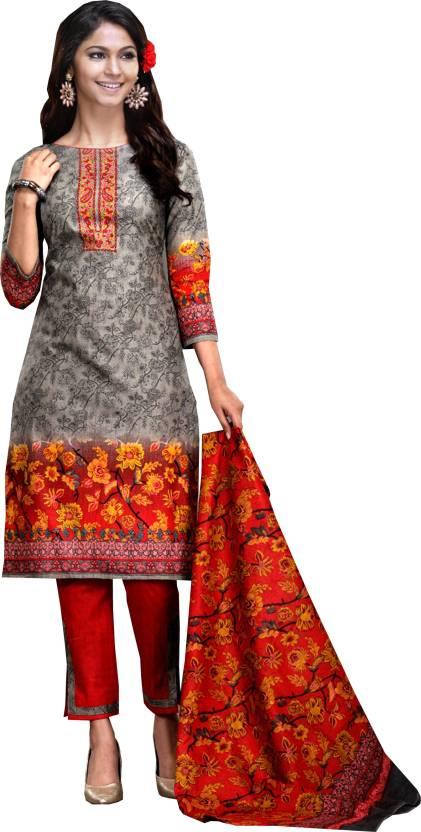 38b43e35b92518 Greenvilla Designs Cotton Printed Salwar Suit Dupatta Material (Un-stitched)