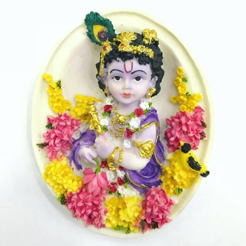 Sri Krishna Culture Oval Shape Krishna Wall Hanging God Idol