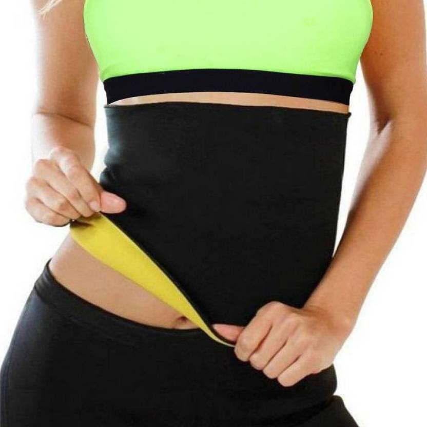 5dcef9ac42a64 KRITAM Free Size hot shaper Sweet Sweat Belt Waist Trimmer Belt Fat Burner  Belly Sauna Sweat Tummy Yoga Body Wrap for waist Slimming Belt (Black)  Slimming ...