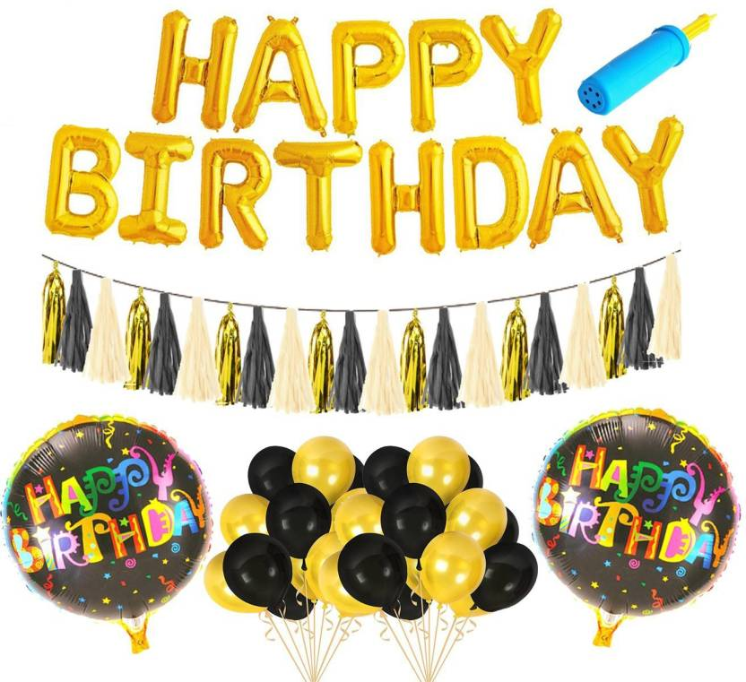 AMFIN Printed Happy Birthday Foil Balloons With Matching Tassel Set Decoration Items Combo Balloon Multicolor Pack Of 1