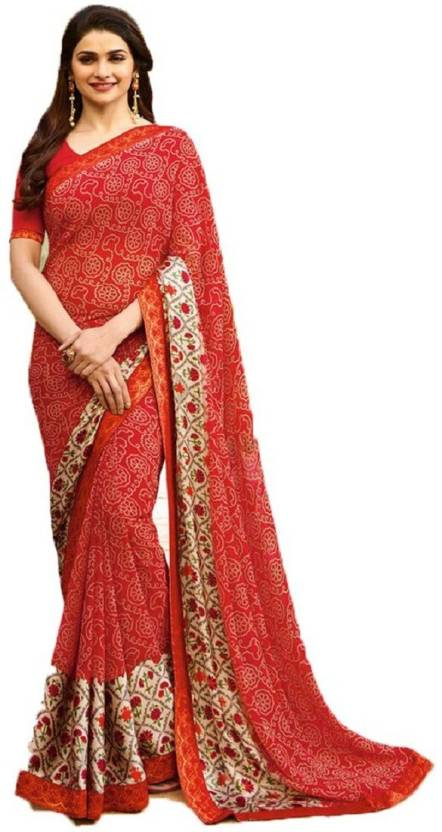 372476feb4e17 Buy Arth Creation Printed Fashion Georgette Red Sarees Online   Best ...