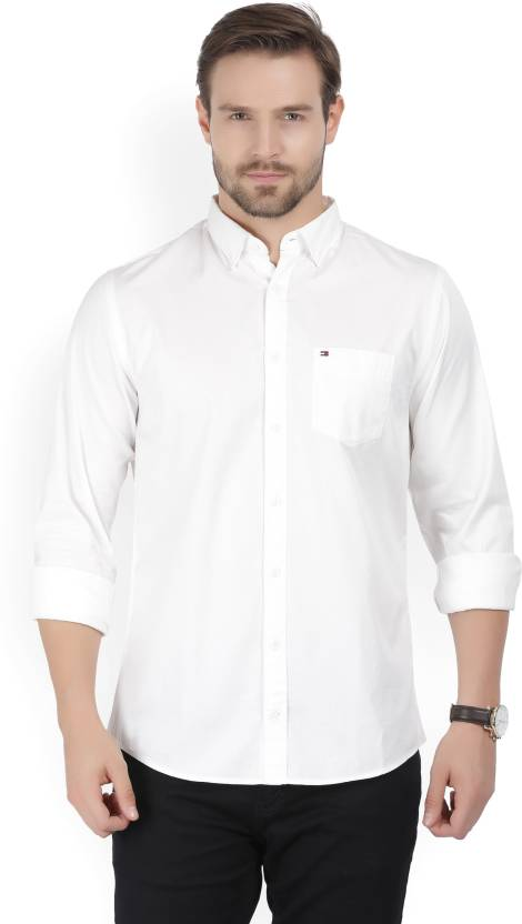 1d2ccfeb88253f Tommy Hilfiger Men Solid Casual White Shirt - Buy White Tommy Hilfiger Men  Solid Casual White Shirt Online at Best Prices in India