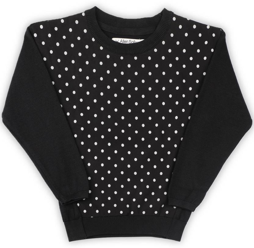 ba7ef42fc Allen Solly Junior Printed Round Neck Casual Girls Black Sweater ...