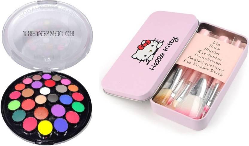 a253c2c1f TheTopNotch Matte Eye Shadow & Hello Kitty Makeup Brush Set (12 Peice) (Set  of 2)