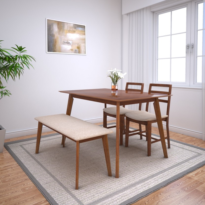 HomeTown Zina 4 Seater Dining Set With Bench Solid Wood 4 Seater Dining Set