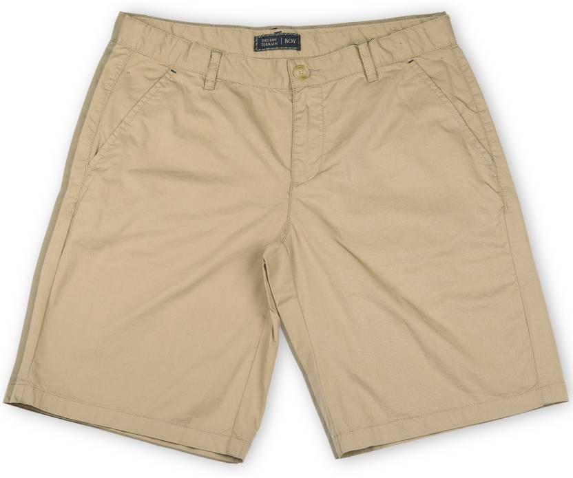 1868d9c7 Indian Terrain Short For Boys Casual Solid Cotton (Beige, Pack of 1)