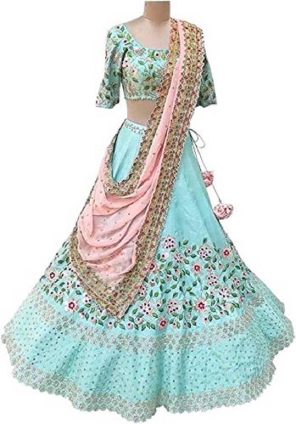 f683903aa1 Shree Krishna Fashion Embellished Semi Stitched Ghagra, Choli, Dupatta Set  (Light Blue)