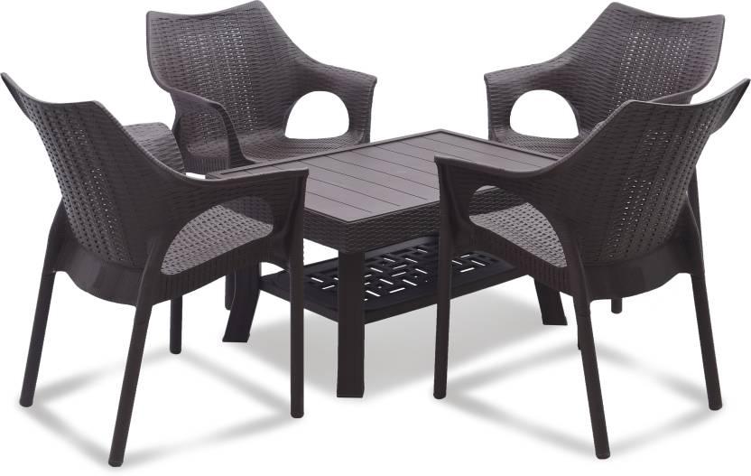 Supreme Brown Plastic Table Chair Set Finish Color