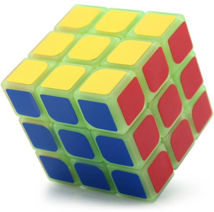 Emob Glow in the Dark Stickerless 3x3x3 High Speed Magic Rubik Radium Cube Puzzle Toy (1 Pieces)