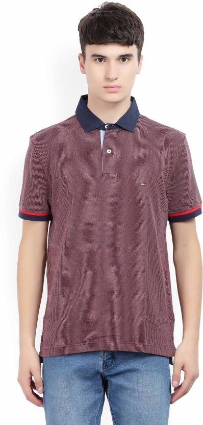 0a5e326b2 Tommy Hilfiger Self Design Men Polo Neck Maroon, Dark Blue T-Shirt - Buy  Red Tommy Hilfiger Self Design Men Polo Neck Maroon, Dark Blue T-Shirt  Online at ...