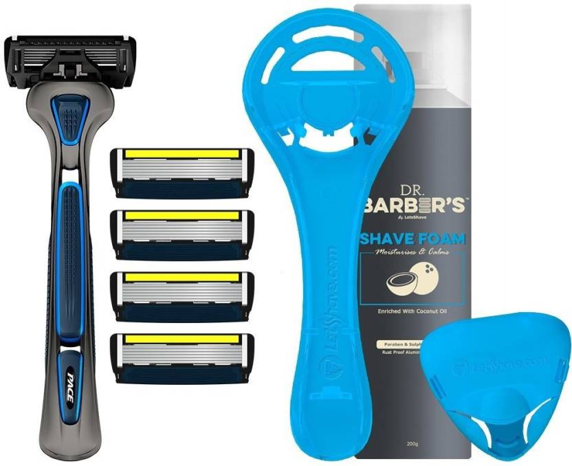 LetsShave Pace 6 Pro Shaving Kit for Men (Ultra-sharp 6 blade Design +  Trimmer) Pack of 4 + Handle + Shave Foam 200 g + Razor Cap & Stand