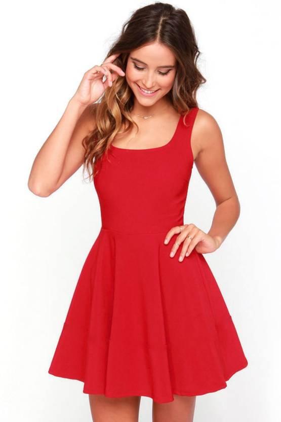 ba8e1bdc89ac Magnus Women Skater Red Dress - Buy Magnus Women Skater Red Dress Online at  Best Prices in India