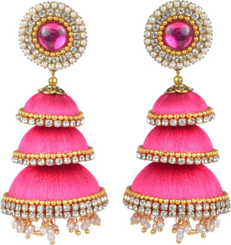 194adf048 Flipkart.com - Buy DarkLady Handmade Silk Thread Latest Designer Jhumka  Earrings For Women || Pink Colour Beads Silk Dori Jhumki Earring Online at  Best ...