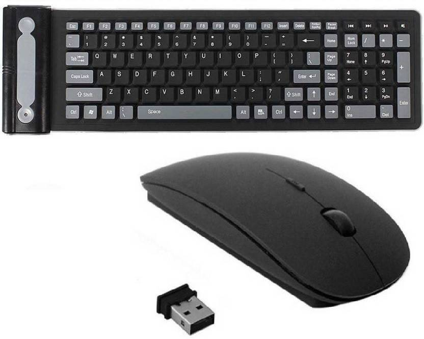 ba669209aaa XBOLT Wireless Flexible Keyboard with 109 Keys, Silicone Rubber Waterproof  Fordable with Slim Wireless Mouse Wireless Multi-device Keyboard (Black,  Gray)