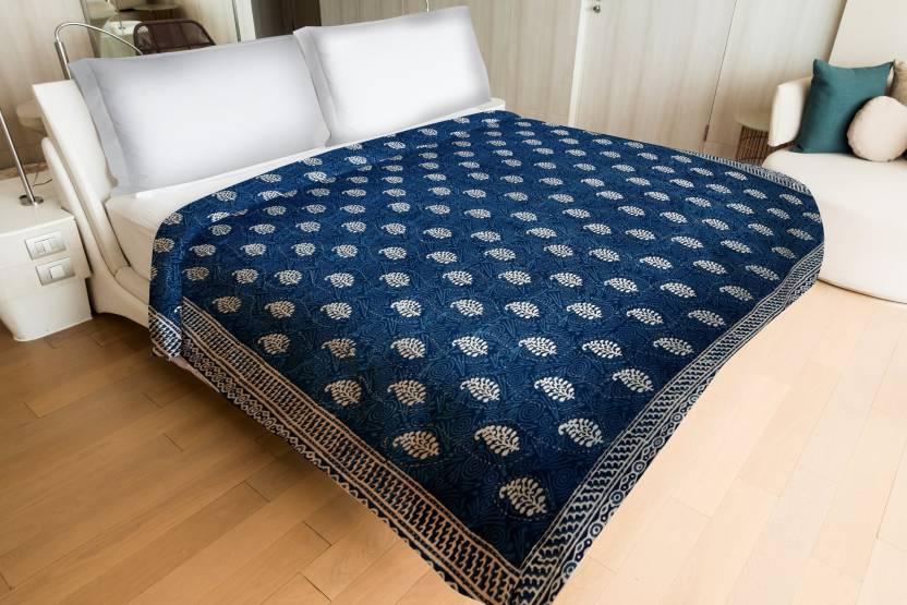 Handicraft Palace Kqlt 306 Indian Kantha Quilt Indigo Blue And White