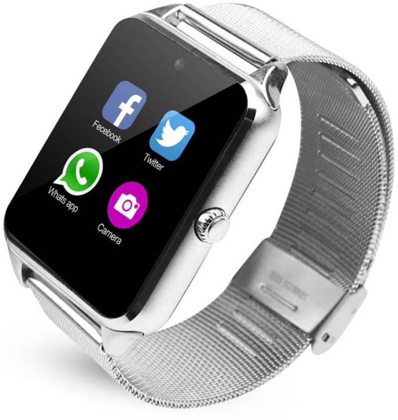 cbc465fd567 Piqancy smartwatch with sim Bluetooth smart watch Silver Smartwatch (Silver  Strap Free Size)