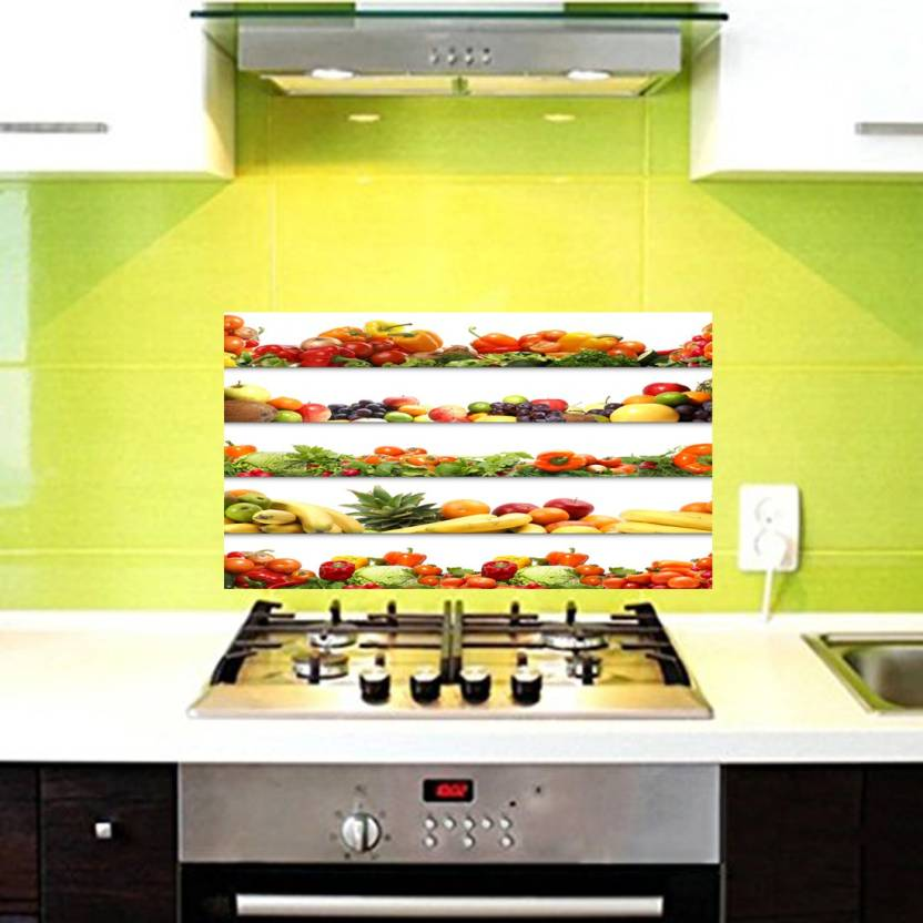 Total Home Medium Fruits And Vegetables Kitchen Wall Decor Sticker Waterproof Anti Oil Stain Tile Decal Pack Of 1