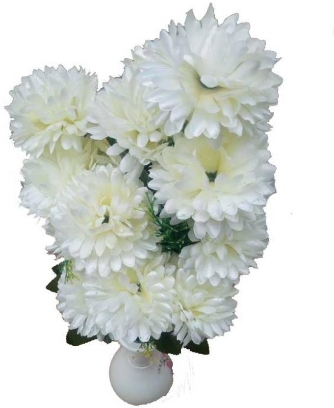 Kaykon Artificial White Marigold Flower Bunch 22 Flowers With 10