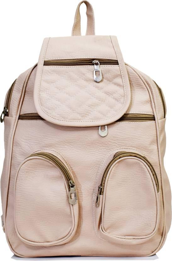 9c472a5274 SPLICE PU Leather Backpack School Bag Student Backpack Women Travel bag 6 L  Backpack (Beige)
