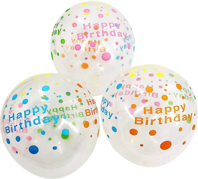 AMFIN Solid Happy Birthday Printed Balloons For Birthdays Balloon Multicolor Pack Of 30