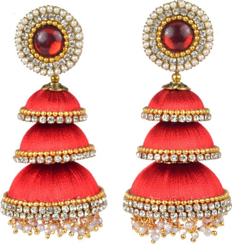 Flipkart Darklady Handmade Latest Designer Silk Thread Earrings For Women Red Colour Beads Dori Jhumki Earring Online At Best Prices In