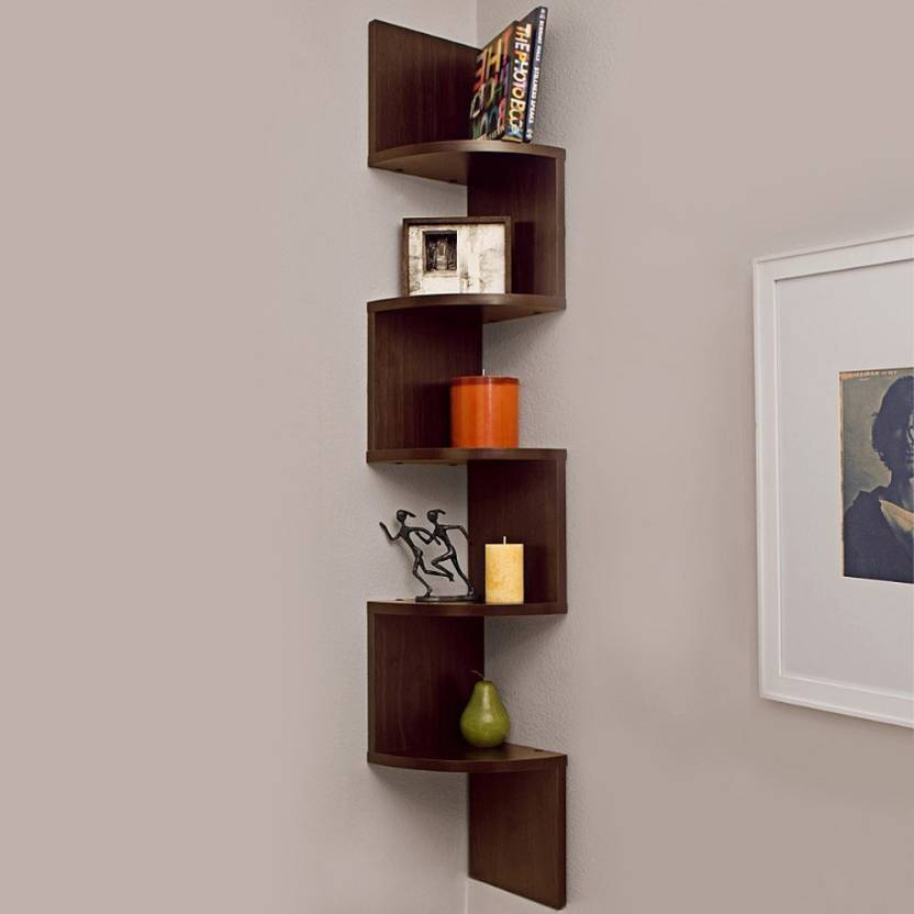 4ad6ab86ce OnlinePurchas wall stand corner wall decor Wooden Wall Shelf (Number of  Shelves - 5, Brown)