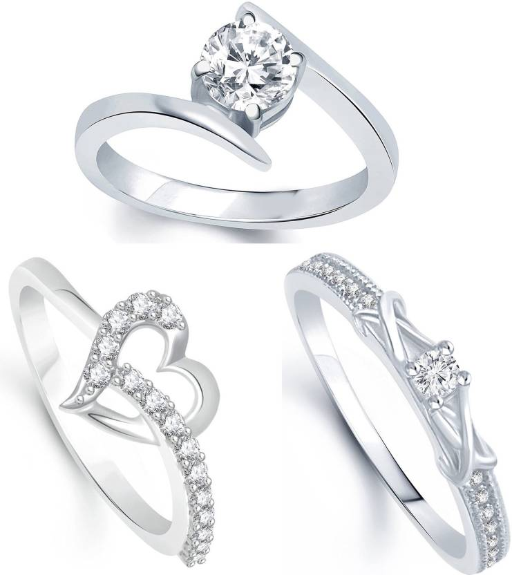 Jewellery For Women Combo Ring American Diamond Silver Platinum