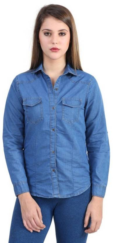 56c900d016b Ladybird Women s Solid Casual Blue Shirt - Buy Ladybird Women s Solid  Casual Blue Shirt Online at Best Prices in India