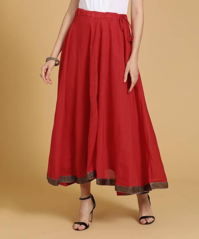 cf99dcbd0fd1 Biba Solid Women Flared Red Skirt - Buy RED Biba Solid Women Flared Red  Skirt Online at Best Prices in India | Flipkart.com