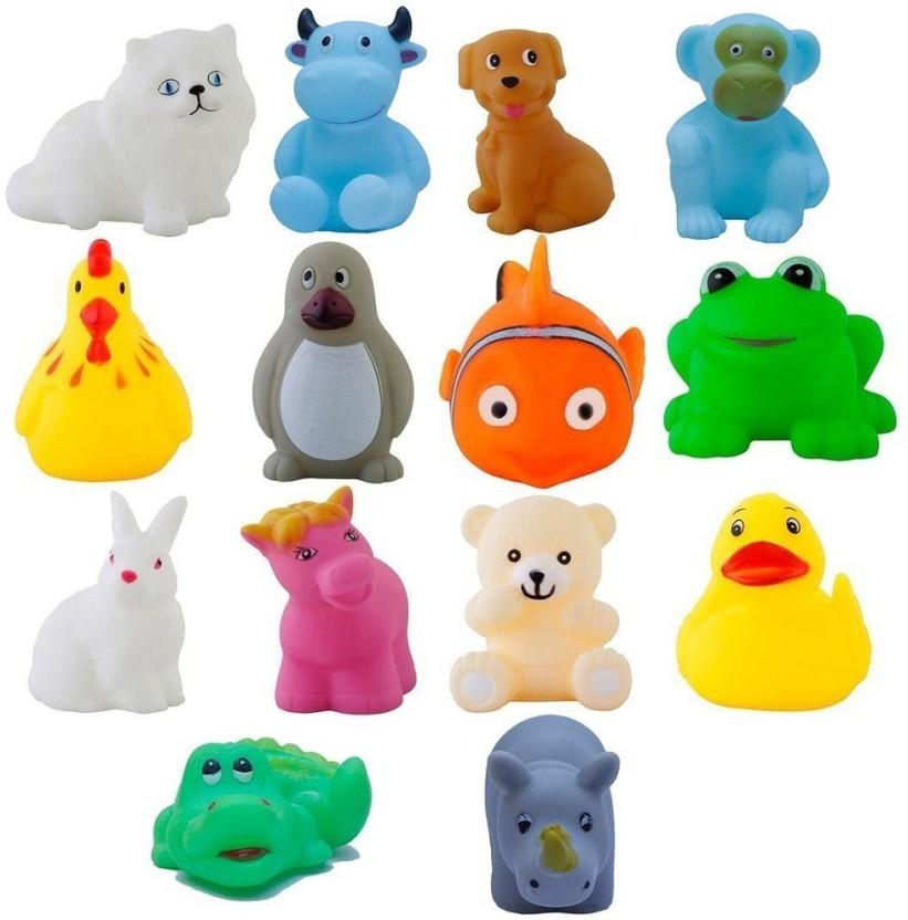 12pcs Animals Rubber Baby Bath Soft Sound Float Kids Sqeeze Toys LA