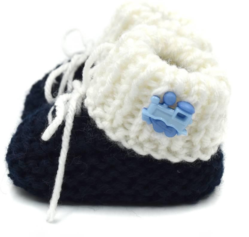 bf34c88e9ee Magic Needles Handmade Soft Sole Prewalker 4030 3-6 Months Booties (Toe to  Heel Length - 11 cm Navy Blue)