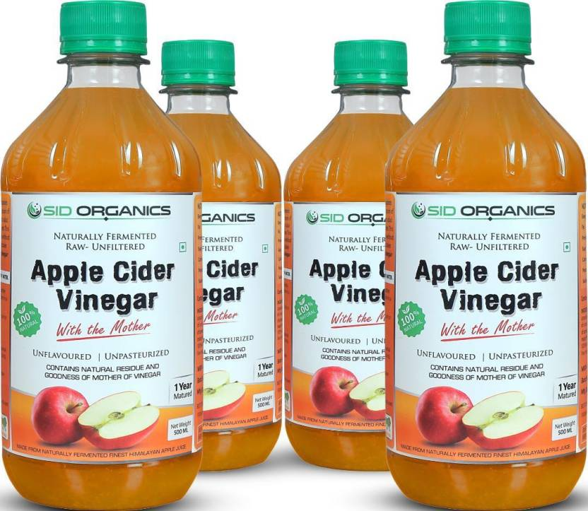SID ORGANICS Apple Cider Vinegar with Mother Culture for Weight Loss - Cold  Pressed, Raw, Unfiltered, Unpasteurized & Unflavored Pack of 4- 500ML