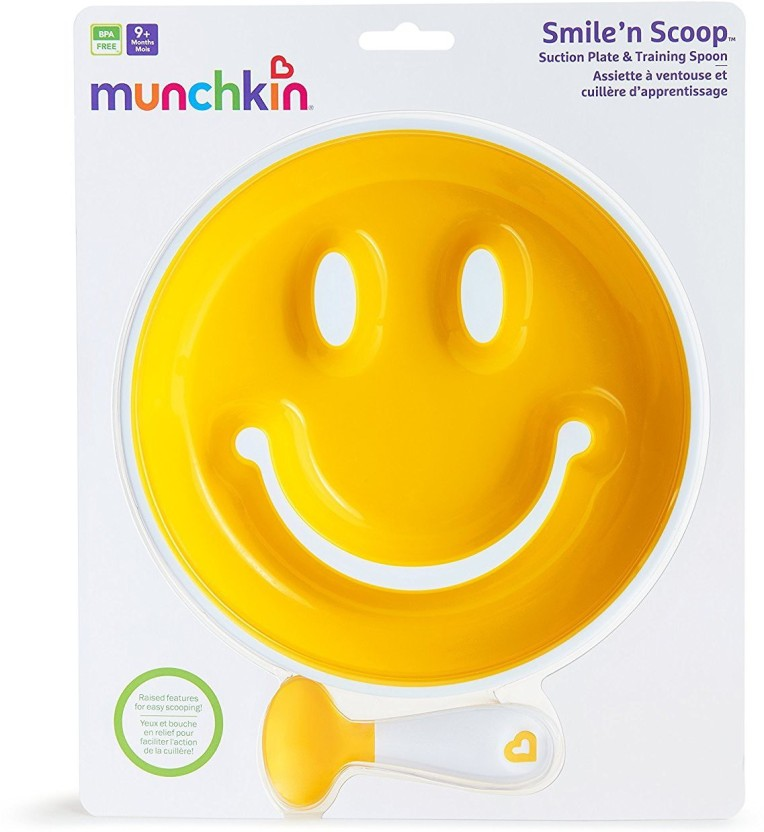 Munchkin Smile n Scoop Suction Training Plate and Spoon Set Blue