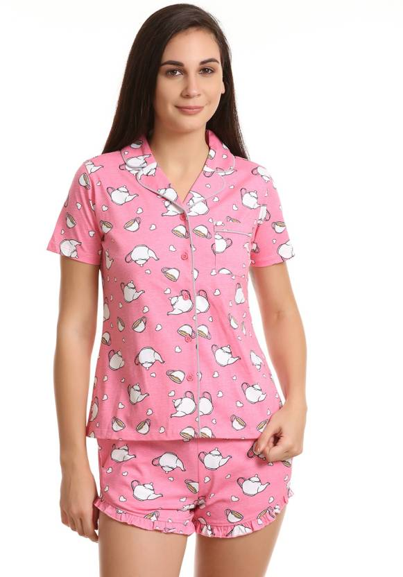 Zivame Women s Printed Pink Top   Shorts Set Price in India - Buy ... e053d4af5