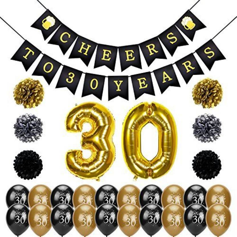 Konsait 30Th Birthday Party Decorations Kit Cheers To Banner Number 30 Years Foil Balloons