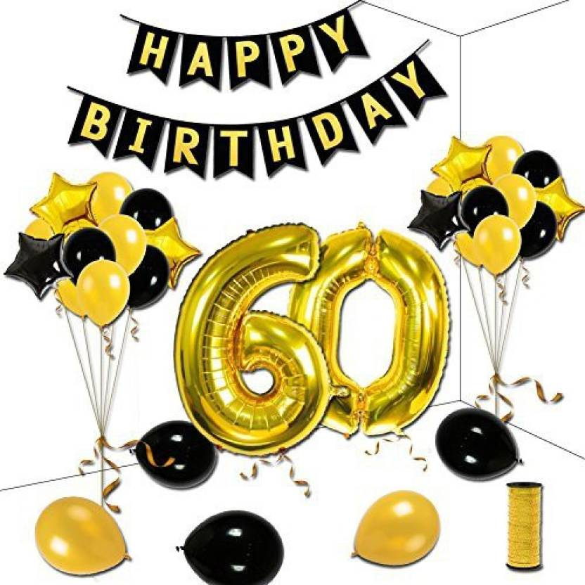 KUMEED 60Th Birthday Theme Party Decorations Kit Happy Gold Star Black Balloons Banner Number 60 Big Foil Golden Ribbon