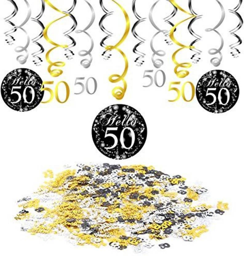 Konsait 50Th Birthday Decoration Hanging Swirl 15 Counts Happy 50 Table Confetti 1 06Oz Black Ceiling Decor For Party Decorations