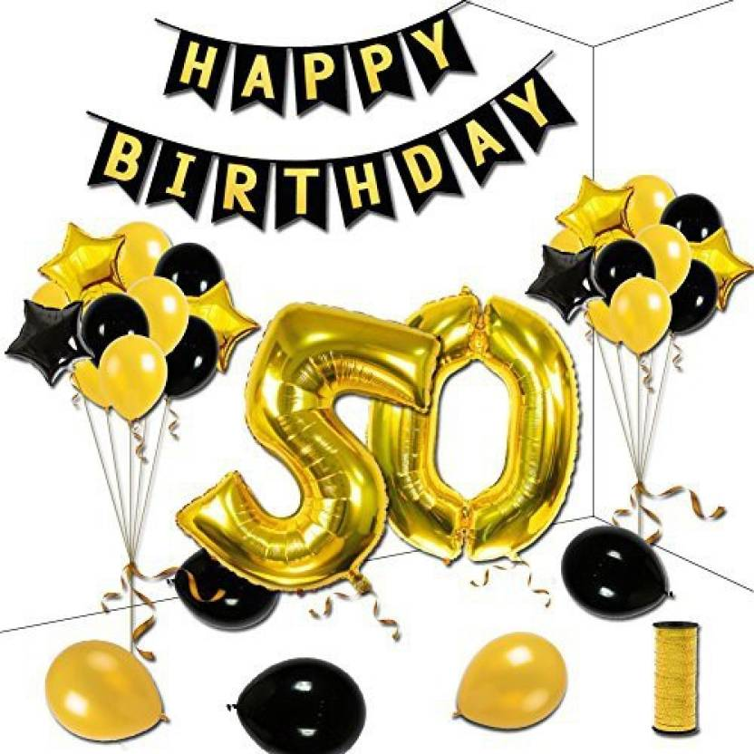 KUMEED 50Th Birthday Party Decorations Kit Gold Black Star Balloons Happy Banner Number 50 Big Foil Golden Ribbon