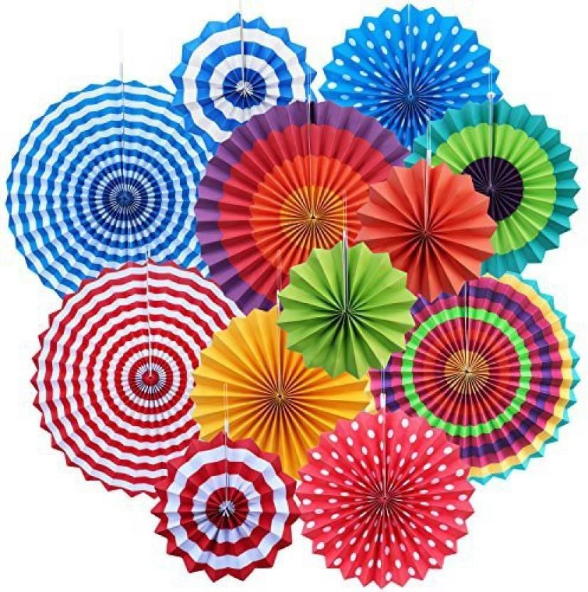 Yotako 12X Round Wheel Tissue Paper Fan Decorations Hanging Rosette Backdrop Medallions Pinwheels For Wedding Party