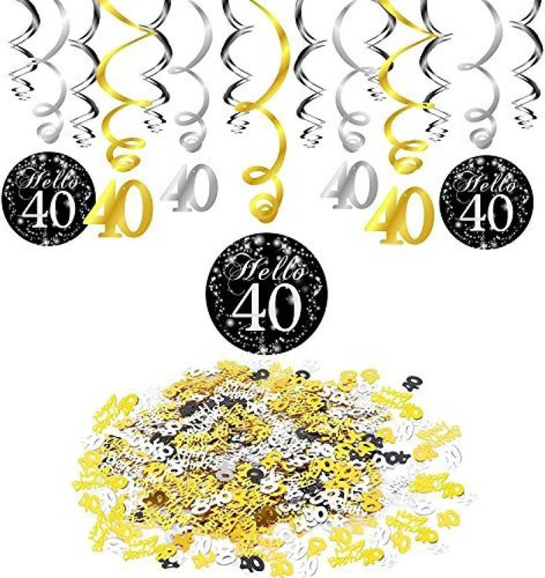 Konsait 40Th Birthday Swirl Spriralen Hanging Decorations 15 Pieces And Happy Party Confetti Table