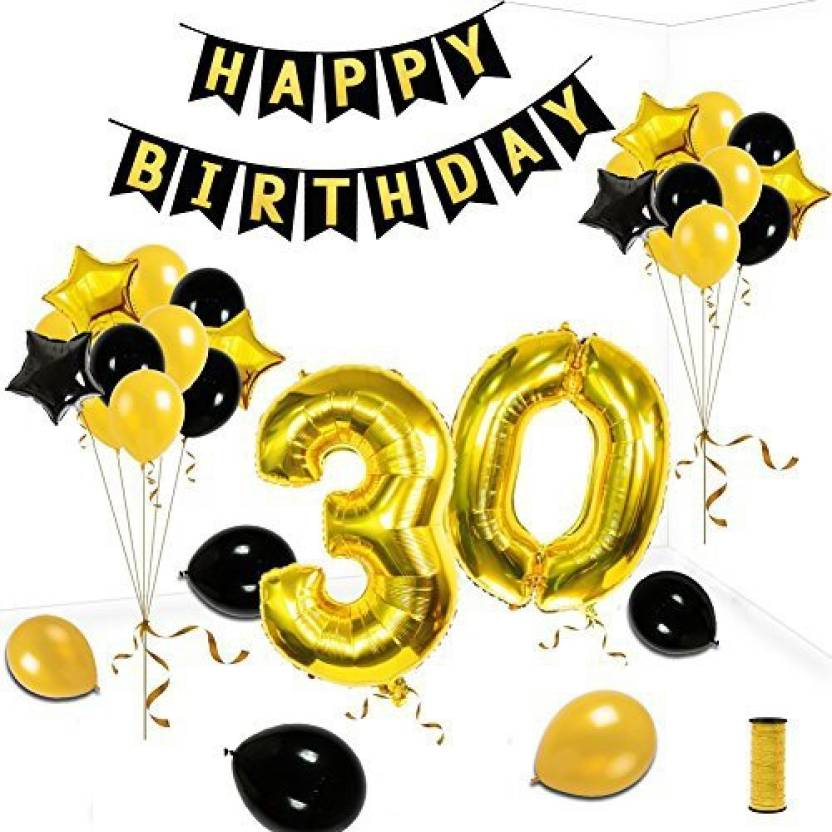 KUMEED 30Th Birthday Party Decorations Kit Gold Black Star Balloons Happy Banner Number 30 Big Foil Golden Ribbon