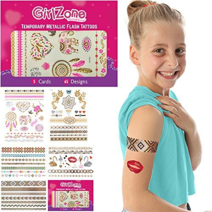 GirlZone Gifts for Girls Metallic Flash Tattoos Kids - Temporary 5 Card Pack 65 Designs. Best Birthday Present Girls Age 3 4 6 7 8 9 + Years Old - Gifts ...  sc 1 st  Flipkart & GirlZone Gifts for Girls: Metallic Flash Tattoos Kids - Temporary 5 ...
